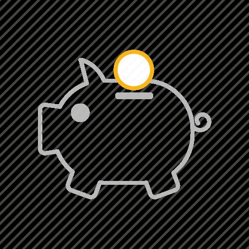bank, guardar, line, money, piggy, piggy bank, save, savings icon