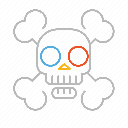 bones, dead, death, line, pirate, skull icon