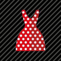 clothing, dress, fashion, garment, polka dots, wardrobe, women's wear icon