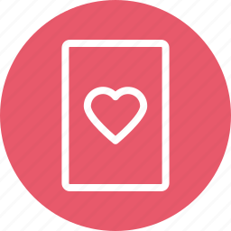 ace of heart, casino, entertainment, heart card, playing card, suit card icon icon