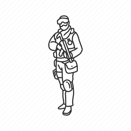 combat pose, holding a gun, military, pose, soldier, standing, standing position icon