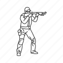 combat pose, military, pose, shooting, soldier, standing, standing and shooting icon