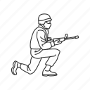 combat pose, kneeling, kneeling position, kneeling shooting, military, pose, soldier icon