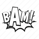 bam, burst, comic, explosion, expression, object, word icon