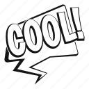 bubble, cool, exclamation, expression, object, speech, text