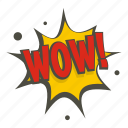 art, comic, exclamation, expression, text, word, wow icon