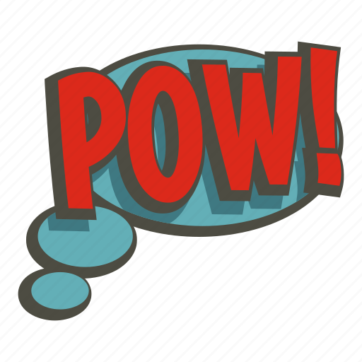 bubble, exclamation, expression, pow, speech, text, word icon