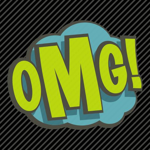 cartoon, cloud, comic, explosion, omg, text, word icon