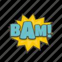 bam, boom, bubble, cloud, comic, object, text icon