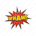 boom, bubble, cloud, comic, object, text, wham icon