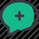 chat, comment, conversation, message, plus