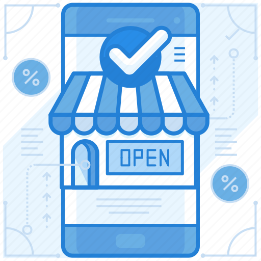 mobile, online, store, website icon