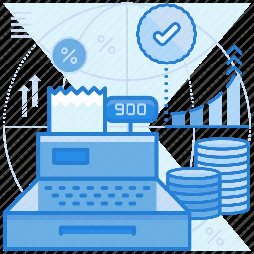 cash, payment, profit, register icon