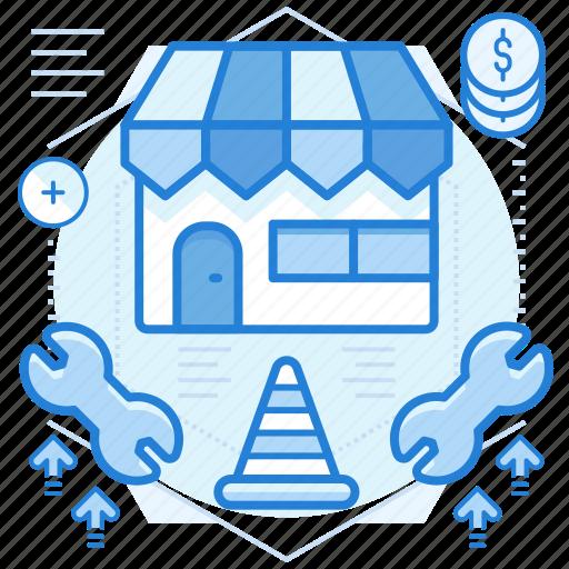 maintenance, shop, store, website icon