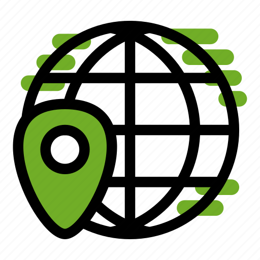connected, global, internet, location, marker, network, web icon