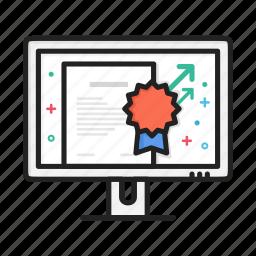 award, certificate, document, monitor, reward icon
