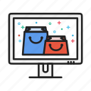 bag, ecomerce, monitor, package, shop, shopping icon