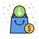 arrow, commerce, dollar, down, ecommerce, money, shopping icon