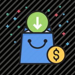 arrow, commerce, dollar, down, ecommerce, money, shopping icon