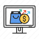 arrow, bag, cart, commerce, dollar, package, shopping icon