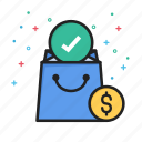 bag, dollar, money, package, shopping, tick icon