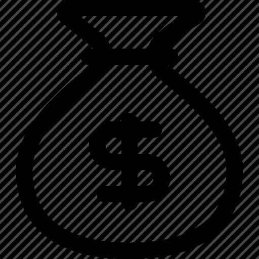 bag, money, money bag, money pouch, money sack, pouch icon