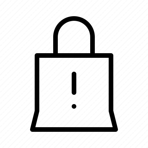 bag, commerce, interface, shop, ui, ux, warning icon