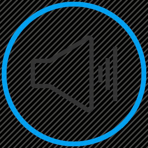 attention, audio, music, news, sound, speaker, volume up icon