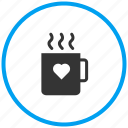coffee, cup, drink, hot tea, love coffee cup, valentine coffee icon