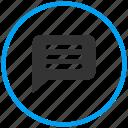 beaker, chat bubble, conversation, experiment, flask, glass beaker, laboratory, message, message bubble, solution, talk, test icon