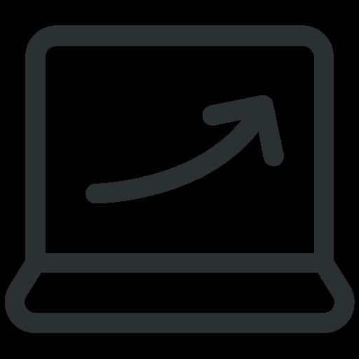 analytics, computer analytics, graph, graph screen, laptop icon icon
