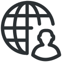 global businessperson, global man, global person, globalization, globe with man icon icon