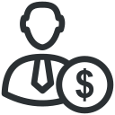 business, dollar, man, money, user icon icon