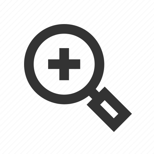 enlarge, magnifying glass, zoom in icon