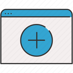 add, browser, communication, internet, window icon