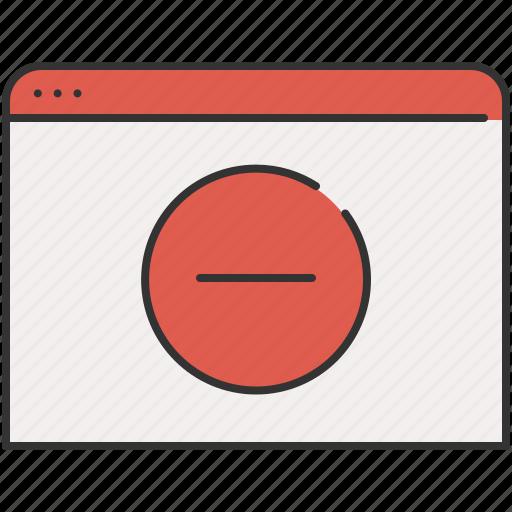 browser, cancel, communication, delete, remove, window icon