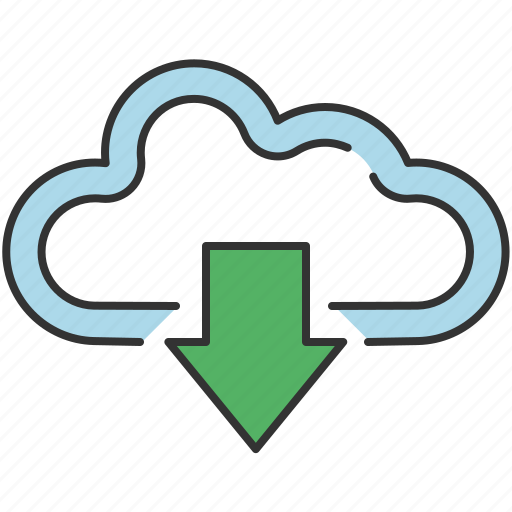 arrow, cloud, communication, down, download, save, share icon