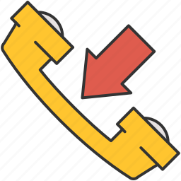 arrow, call, communication, incoming, phone icon