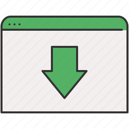 arrow, browser, communication, down, download, move, window icon