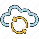 arrows, cloud, communication, internet, refresh, sharing, storage icon