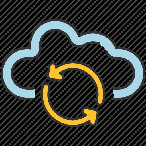 arrows, cloud, communication, internet, refresh, sharing, storage icon