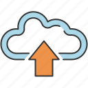 arrow, cloud, communication, internet, sharing, storage, upload icon