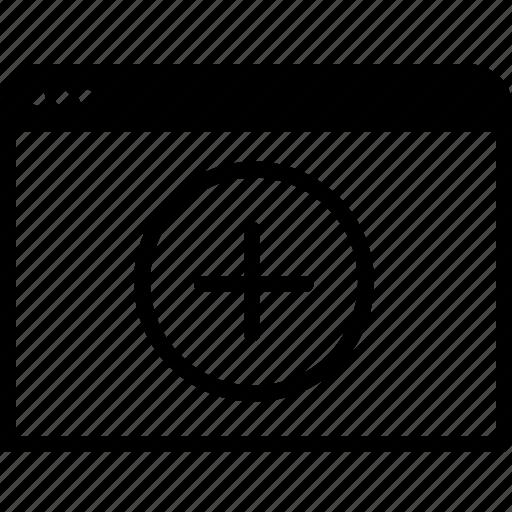 add, browser, communication, internet, new, window icon