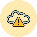 alert, cloud, communication, internet, save, share, warning icon