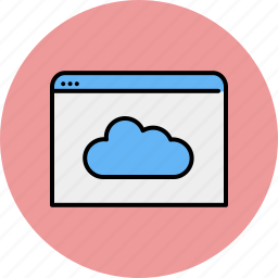 browser, cloud, communication, internet, save, share, window icon