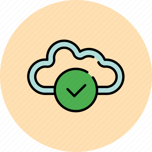 approve, cloud, communication, complete, confirm, guardar, save, share icon