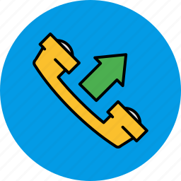 arrow, call, communication, contact, outgoing, phone icon