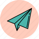 aeroplane, communication, message, paper, receive, send, throw icon