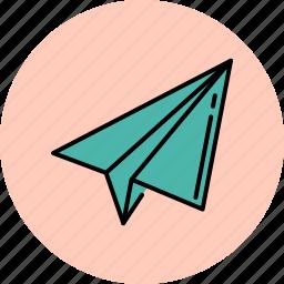 aeroplane, communication, message, paper, receive, send, throw icon