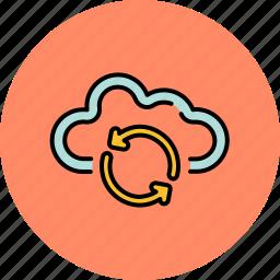 arrow, cloud, communication, guardar, internet, refresh, save, share icon